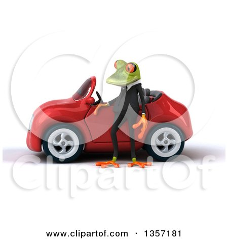 Clipart of a 3d Green Business Frog by a Red Convertible Car, on a White Background - Royalty Free Illustration by Julos