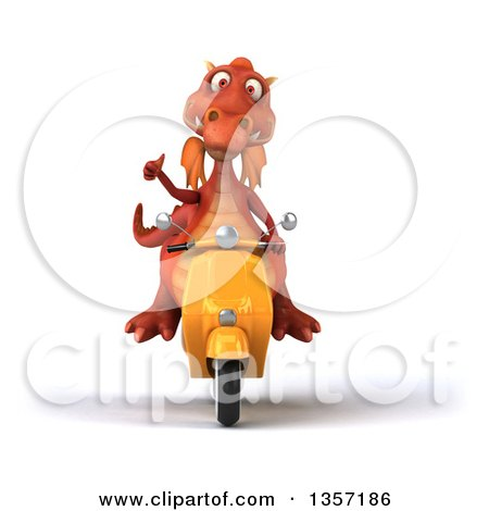 Clipart of a 3d Red Dragon Giving a Thumb up and Riding a Yellow Scooter, on a White Background - Royalty Free Illustration by Julos