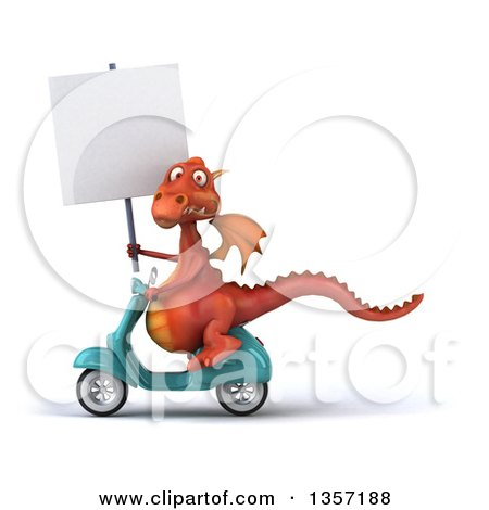 Clipart of a 3d Red Dragon Holding a Blank Sign and Riding a Turquoise Scooter, on a White Background - Royalty Free Illustration by Julos