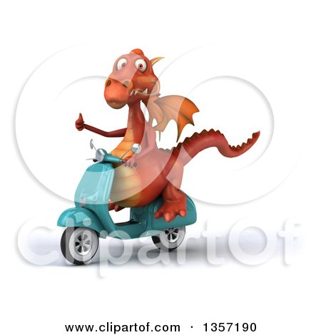 Clipart of a 3d Red Dragon Giving a Thumb up and Riding a Turquoise Scooter, on a White Background - Royalty Free Illustration by Julos
