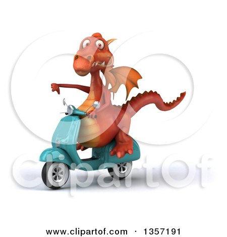 Clipart of a 3d Red Dragon Giving a Thumb down and Riding a Turquoise Scooter, on a White Background - Royalty Free Illustration by Julos