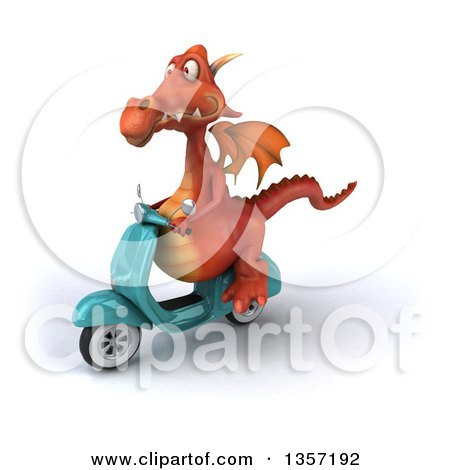 Clipart of a 3d Red Dragon Riding a Turquoise Scooter, on a White Background - Royalty Free Illustration by Julos
