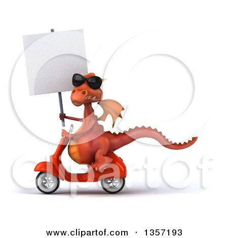 Clipart of a 3d Red Dragon Wearing Sunglasses, Holding a Blank Sign and Riding an Orange Scooter, on a White Background - Royalty Free Illustration by Julos