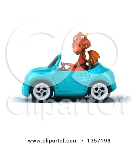 Clipart of a 3d Red Dragon Driving a Blue Convertible Car, on a White Background - Royalty Free Illustration by Julos