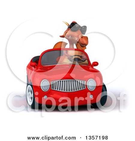 Clipart of a 3d Red Dragon Wearing Sunglasses and Driving a Convertible Car, on a White Background - Royalty Free Illustration by Julos