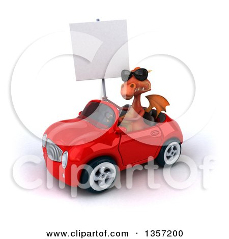Clipart of a 3d Red Dragon Wearing Sunglasses, Holding a Blank Sign and Driving a Convertible Car, on a White Background - Royalty Free Illustration by Julos