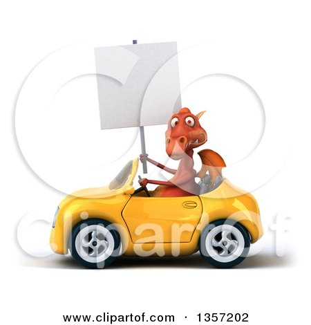 Clipart of a 3d Red Dragon Holding a Blank Sign and Driving a Yellow Convertible Car, on a White Background - Royalty Free Illustration by Julos