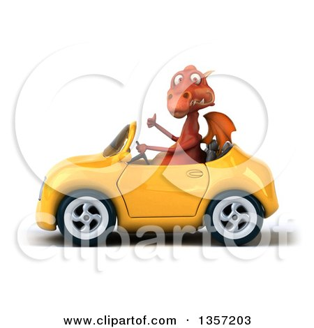 Clipart of a 3d Red Dragon Giving a Thumb up and Driving a Yellow Convertible Car, on a White Background - Royalty Free Illustration by Julos