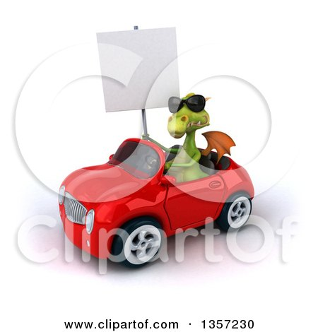 Clipart of a 3d Green Dragon Wearing Sunglasses, Holding a Blank Sign and Driving a Red Convertible Car, on a White Background - Royalty Free Illustration by Julos