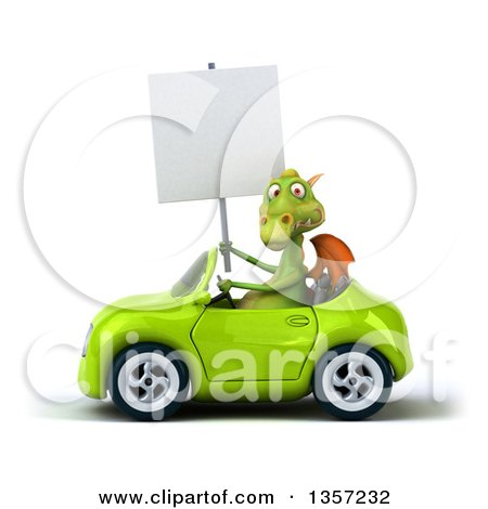 Clipart of a 3d Green Dragon Holding a Blank Sign and Driving a Convertible Car, on a White Background - Royalty Free Illustration by Julos
