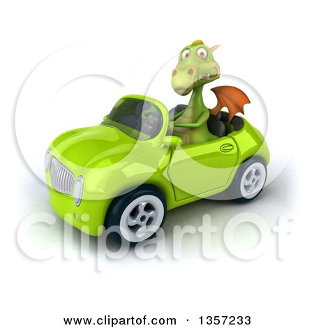 Clipart of a 3d Green Dragon Driving a Convertible Car, on a White Background - Royalty Free Illustration by Julos