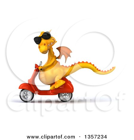 Clipart of a 3d Yellow Dragon Wearing Sunglasses and Riding an Orange Scooter, on a White Background - Royalty Free Illustration by Julos