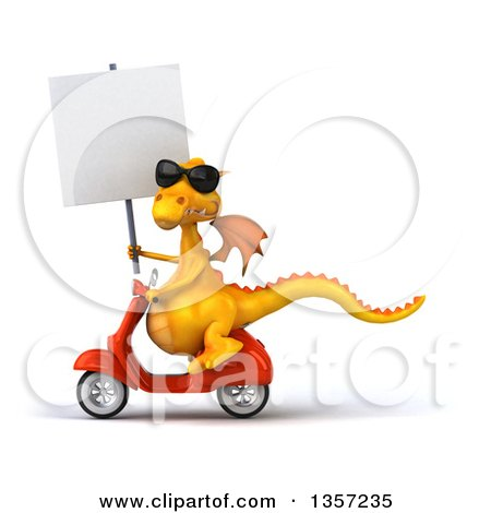Clipart of a 3d Yellow Dragon Wearing Sunglasses, Holding a Blank Sign and Riding an Orange Scooter, on a White Background - Royalty Free Illustration by Julos