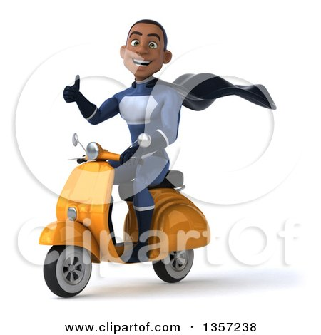 Clipart of a 3d Young Black Male Super Hero Dark Blue Suit, Giving a Thumb up and Riding a Yellow Scooter, on a White Background - Royalty Free Illustration by Julos