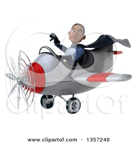 Clipart of a 3d Aviator Pilot Young Black Male Super Hero Dark Blue Suit, Giving a Thumb down and Flying a White and Red Airplane, on a White Background - Royalty Free Illustration by Julos