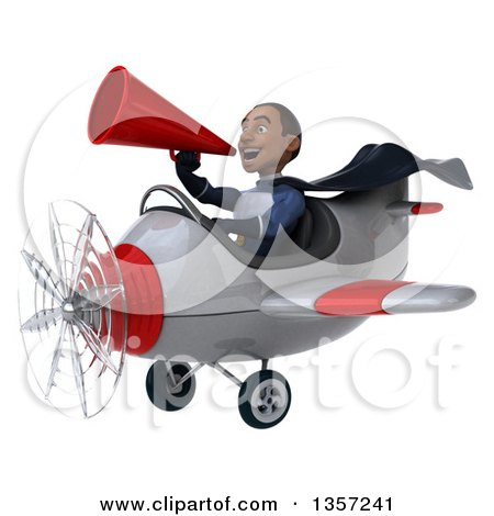 Clipart of a 3d Aviator Pilot Young Black Male Super Hero Dark Blue Suit, Using a Megaphone and Flying a White and Red Airplane, on a White Background - Royalty Free Illustration by Julos
