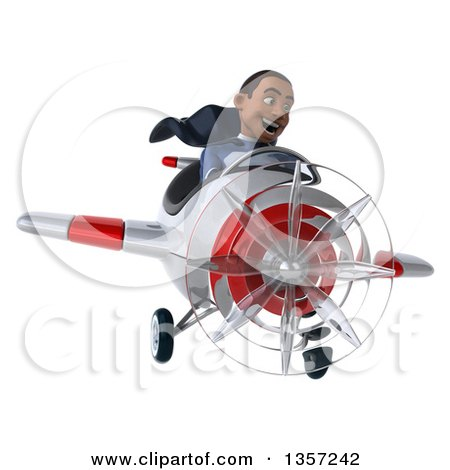 Clipart of a 3d Aviator Pilot Young Black Male Super Hero Dark Blue Suit, Flying a White and Red Airplane, on a White Background - Royalty Free Illustration by Julos