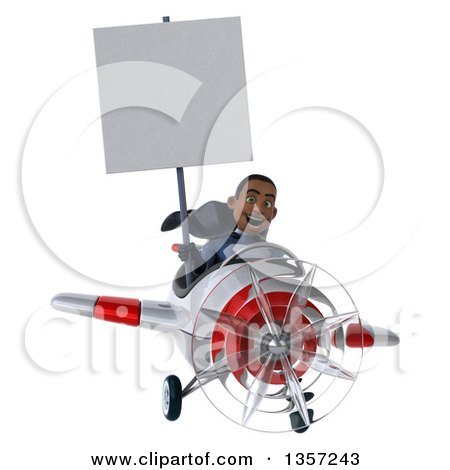 Clipart of a 3d Aviator Pilot Young Black Male Super Hero Dark Blue Suit, Holding a Blank Sign and Flying a White and Red Airplane, on a White Background - Royalty Free Illustration by Julos