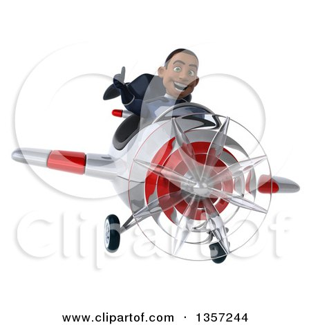 Clipart of a 3d Aviator Pilot Young Black Male Super Hero Dark Blue Suit, Giving a Thumb up and Flying a White and Red Airplane, on a White Background - Royalty Free Illustration by Julos