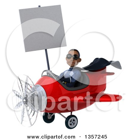 Clipart of a 3d Aviator Pilot Young Black Male Super Hero Dark Blue Suit, Wearing Sunglasses, Holding a Blank Sign and Flying a Red Airplane, on a White Background - Royalty Free Illustration by Julos