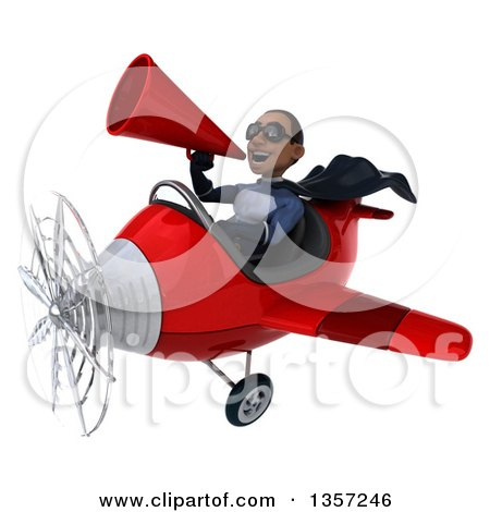 Clipart of a 3d Aviator Pilot Young Black Male Super Hero Dark Blue Suit, Wearing Sunglasses, Using a Megaphone and Flying a Red Airplane, on a White Background - Royalty Free Illustration by Julos