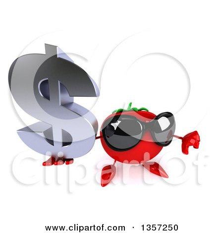 Clipart of a 3d Tomato Character Wearing Sunglasses, Holding up a Dollar Currency Symbol and Thumb Down, on a White Background - Royalty Free Illustration by Julos