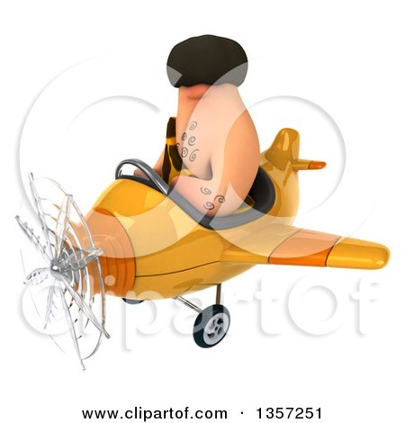 Clipart of a 3d Caveman Pilot Flying a Yellow Airplane, on a White Background - Royalty Free Illustration by Julos