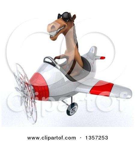 Clipart of a 3d Brown Horse Aviator Pilot Wearing Sunglasses and Flying a White and Red Airplane, on a White Background - Royalty Free Illustration by Julos