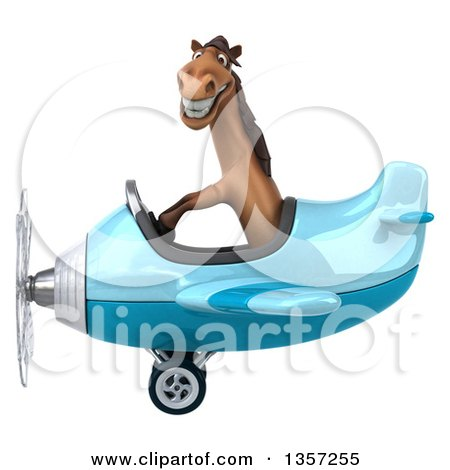 Clipart of a 3d Brown Horse Aviator Pilot Flying a Blue Airplane, on a White Background - Royalty Free Illustration by Julos