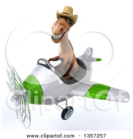 Clipart of a 3d Brown Cowboy Horse Aviator Pilot Flying a White and Green Airplane, on a White Background - Royalty Free Illustration by Julos