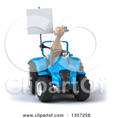 Clipart of a 3d Brown Horse Holding a Blank Sign and Operating a Blue Tractor, on a White Background - Royalty Free Illustration by Julos