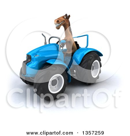 Clipart of a 3d Brown Horse Operating a Blue Tractor, on a White Background - Royalty Free Illustration by Julos