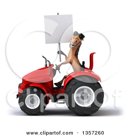 Clipart of a 3d Brown Horse Wearing Sunglasses, Holding a Blank Sign and Operating a Red Tractor, on a White Background - Royalty Free Illustration by Julos