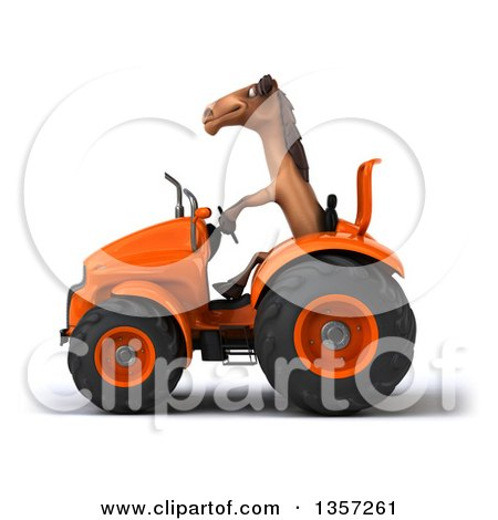 Clipart of a 3d Brown Horse Operating an Orange Tractor, on a White Background - Royalty Free Illustration by Julos