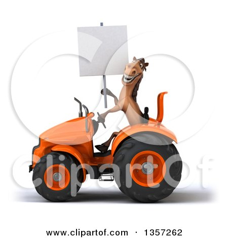 Clipart of a 3d Brown Horse Holding a Blank Sign and Operating an Orange Tractor, on a White Background - Royalty Free Illustration by Julos