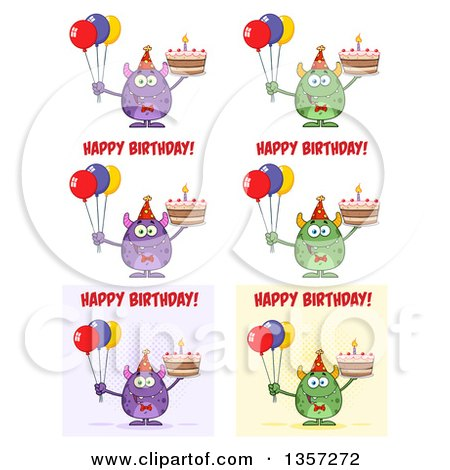 Clipart of Cartoon Birthday Monsters - Royalty Free Vector Illustration by Hit Toon