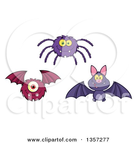 Clipart of a Cartoon Spider, Vampire Bat and Monster - Royalty Free Vector Illustration by Hit Toon