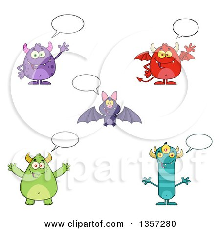 Clipart of Talking Monsters and a Bat - Royalty Free Vector Illustration by Hit Toon