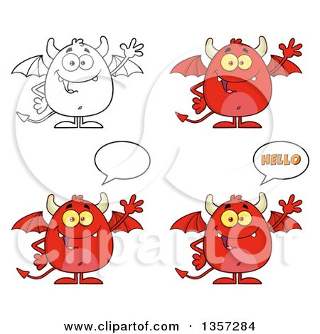 Clipart of Cartoon Red and Lineart Devils - Royalty Free Vector Illustration by Hit Toon