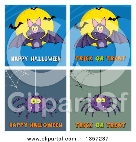 Clipart of Cartoon Bats and Spiders with Webs and Halloween Greetings - Royalty Free Vector Illustration by Hit Toon