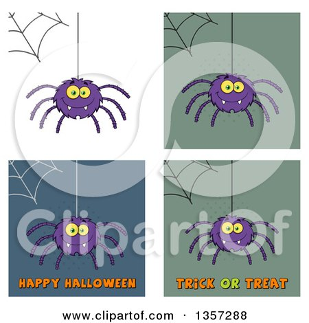 Clipart of Cartoon Spiders with Webs and Halloween Greetings - Royalty Free Vector Illustration by Hit Toon