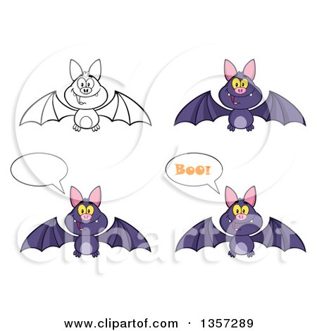 Clipart of Cartoon Purple and Lineart Vampire Bats - Royalty Free Vector Illustration by Hit Toon