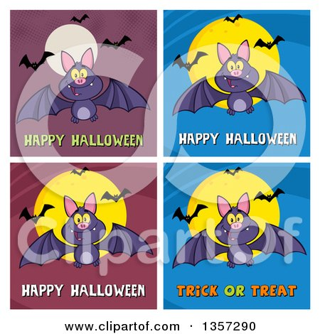 Clipart of Flying Bats with Halloween Greetings - Royalty Free Vector Illustration by Hit Toon