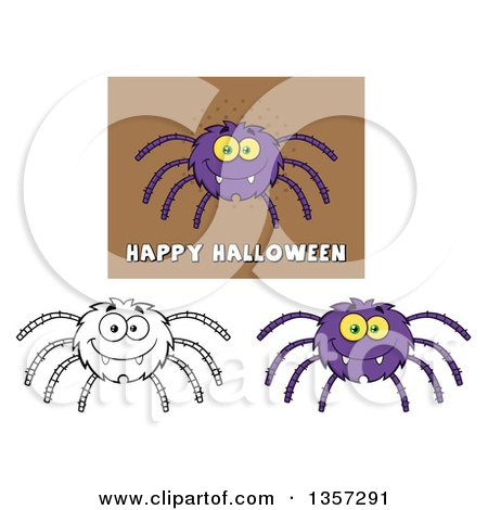 Clipart of Cartoon Happy Spiders - Royalty Free Vector Illustration by Hit Toon
