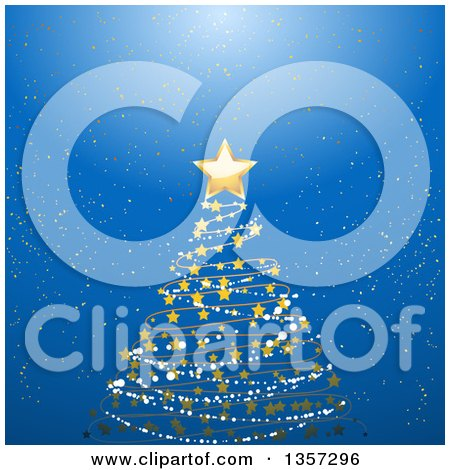 Clipart of a Scribble, Snow and Star Christmas Tree over a Blue Glowing Background - Royalty Free Vector Illustration by elaineitalia