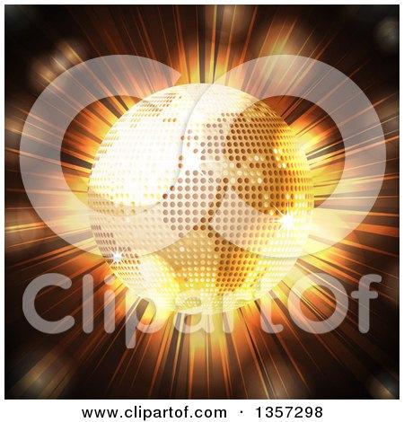 Clipart of a 3d Golden Sparkly Disco Ball Earth Globe over a Light Burst - Royalty Free Vector Illustration by elaineitalia