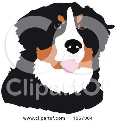 Clipart of a Portrait of a Bernese Mountain Dog - Royalty Free Vector Illustration by Maria Bell