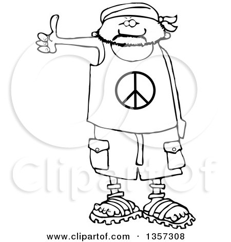 Clipart of a Cartoon Black and White Male Hitchhiker Wearing a Bandana, Peace Shirt, Shorts and Sandals - Royalty Free Lineart Vector Illustration by djart