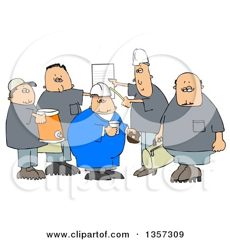 Clipart of a Cartoon Group of Caucasian Male Construction Workers with a Cooler, Donuts, Document and Bag - Royalty Free Illustration by djart