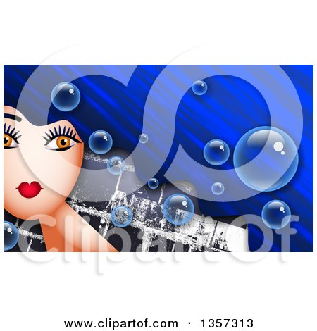 Clipart of a Woman with Long Blue Hair, with Bubbles over Bricks - Royalty Free Illustration by Prawny
